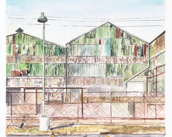Derelict Warehouse in Short North, Columbus, Ohio - an original watercolor in shades of green