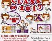 Nurse Graduation Party Decorations or Nurse Birthday Party - Invitation, Banner, Cake Topper, Centerpiece, Favor Tags, Cupcake Toppers