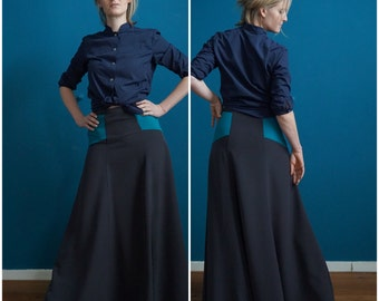 maxi skirt // high-rise waist // loose fit // contrast yoke //anthracite // petrol