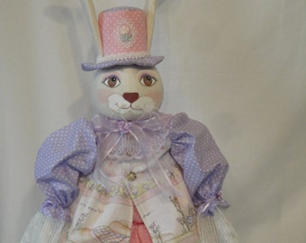 Folk Art Rabbit Art Doll,  hand made OOAK bunny rabbit in purple and pink colors