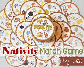 NATIVITY SEEK IT Match Game, Christmas Printables, Party, Family Game Night, Matching Game Cards ...