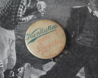 1896 Kankakee Art Bicycles Ill. Advertising Celluloid Pinback Button Antique Whitehead and Hoag Celluloid Pinback Kankakee Art Bicycles Pin