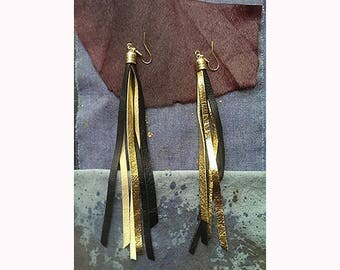 Black and Gold Suede Fringe Earrings