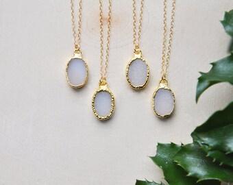 Small Druzy Necklace, Druzy Necklace, Druzy, Oval Necklace, Delicate Necklace, Petite Necklace, Small Necklace, Stone Necklace, Boho chic