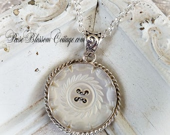 Antique Mother of Pearl Highly Carved MOP Button Sterling Necklace Pendant