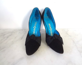1950s Black Stiletto Heels - bombshell vintage suede pumps with grosgrain bow - size 7.5