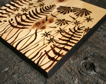 Woodland Garden - Wood Burning Art on Salvaged Wood
