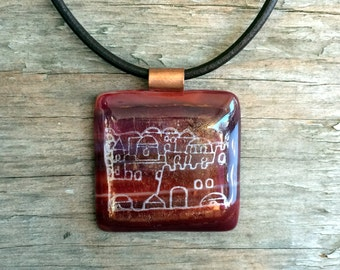 Jerusalem Glass Pendant; Jerusalem Fused Glass Necklace; Square Pendant Necklace; Jerusalem Pendant; Judaica