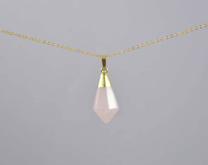 Rose Quartz Crystal Gemstone Pyramid Point Necklace, Crystal Choker, Crystal Point Necklace, Quartz Crystal, Crystal Necklace, Crystal Point