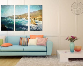 triptych wall art - pacific ocean wall art - teal turquoise wall decor - california photography