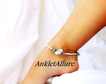 Yellow Sandal Anklet Flip Flop Ankle Bracelet Cloudy Blue Crystal Foot Jewelry Body Jewelry