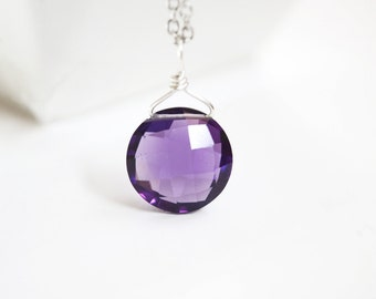 Amethyst Necklace, Round Amethyst Pendant, February Birthstone Jewelry