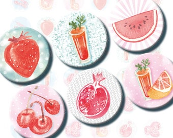 Red Watercolor Fruits Digital collage sheet for kitchen glass magnets, bottlecaps 1 inch circles. Healthy food images printable download.