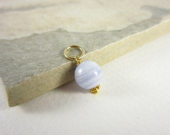 Sphere - Light Blue Lace Agate Jewelry - Crazy Lace Agate Pendant - 14k Gold Charms - Polished Stone Jewelry - Wire Wrapped Jewelry