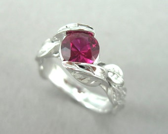 Ruby Leaf Engagement Ring, Leaves Engagement Ring, Gemstone Solitaire Engagement Ring, Leaf Ring, Floral Leaves Ring, Ruby Wedding Ring