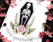 """8x10"""" Die Young and Save Yourself Brand New Lyrics Tattoo Flash Print or Original Painting by Michelle Kent"""
