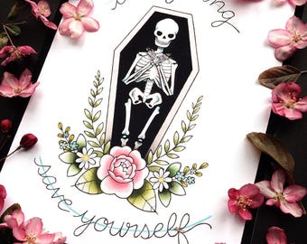 "8x10"" Die Young and Save Yourself Brand New Lyrics Tattoo Flash Print or Original Painting by Michelle Kent"