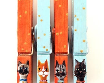 CAT CLOTHESPINS turquoise orange hand painted magnetic gold dots
