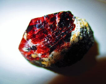 HUGE Blood Red Natural Euhedral Zircon in its Matrix - Protection, Astral Travel, Grounding, Cleansing, Wisdom, Love, Passion