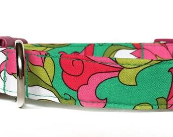 Pink Green Dog Collar / Floral Dog Collar / Pink Mint Green Dog Collar / Girl Dog Collar / Flower Dog Collar / Adjustable Dog Collar