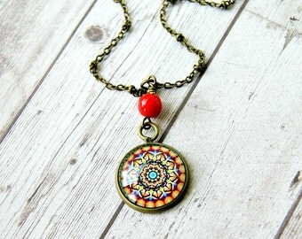 mandala pendant, rainbow pendant, bohemian jewelry, boho pendant, colorful necklace, yoga jewelry