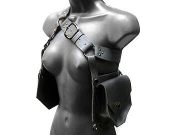 Leather Holster Belt Pouch Bag in Black and Gunmetal - METAMORPH