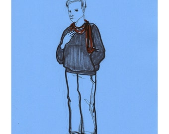 Boy man illustration drawing original art sketch people figurative realistic blue line life model