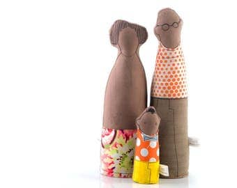 Personal family , african american , Family Portrait , Couple and child , kids room decor , unique toys , soft sculpture doll , fabric doll