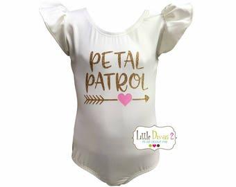 Petal Patrol CHILD (Ivory) FLUTTER/RUFFLE Sleeve Leotard-Great for Weddings