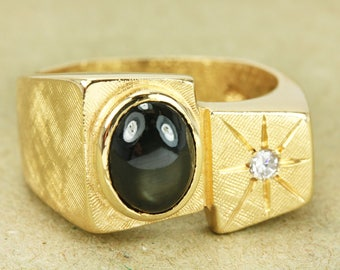 AAA Chrysoberyl Cat's Eye Mens Ring 14K, Diamond Mens Ring Yellow Gold, Yellow Gold Mens Ring, Chrysoberyl And Diamond Ring