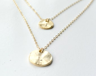 Two Initials Double Necklace, Personalized Disc Necklace GOLD,  Long and Layered Necklace, Personalized Jewelry Necklace, Jewelry for Her