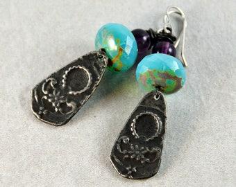 Rustic Boho Earrings Gypsy Chic Artisan Earrings Purple Blue Handcrafted Jewelry