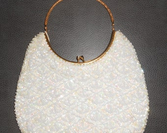 Vintage 1960s white beaded evening handbag with rounded gold handle