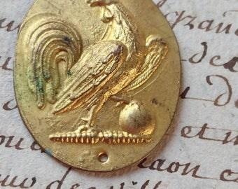 Superb antique French Republique Fancaise repousse gilded tole cockerel plaque c1880  BELLE BROCANTE