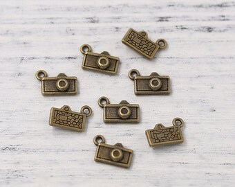 Antiqued Bronze Tone Little Camera Charm Necklace Bracelet Extender End Drops Travel Theme Pendants Drops