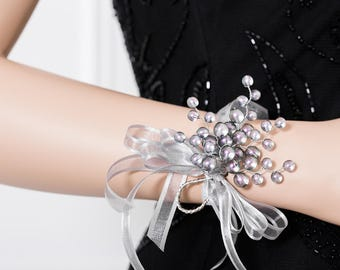 Frosted Gray Corsage - Gray Wrist Corsage with Purple and Green Highlights - Corsage -  - Wedding Wrist Corsage - Prom Corsage