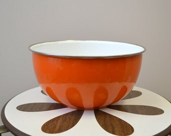 1980s Orange Enamel Mixing Bowl