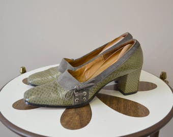 1960s Johansen Soft Olive Snakeskin and Suede Chunky Heels