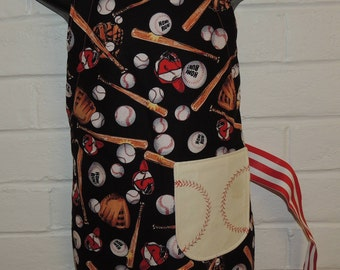 REVERSIBLE Child Baseball themed Red Cooking Apron / Art Smock fits size 3, 4, 5, 6 and 7 kids kid pocket