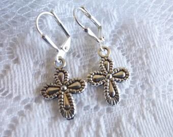 Puffy Cross Earrings Tibetan Silver Cross Earrings