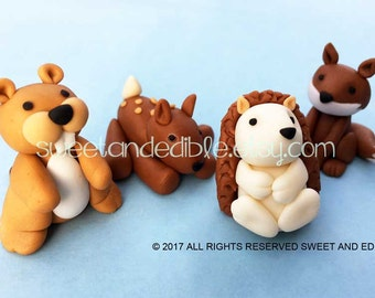 Set of 4 BABY WOODLAND ANIMALS 3D Fondant Cake Toppers