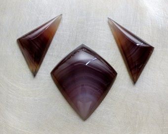 Botswana Banded Agate Matched Suite of Loose Natural Gemstone Cabochons for Pendant and Earrings