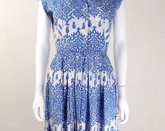 Original Vintage 1950s Blue and White 'China' Dress UK Size 8