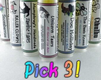 CHOOSE 3 Natural Moisturizing Lip Balms, Pick 3 Balms, You Choose Flavors with Jojoba Oil, Mango Butter, Vitamin E, Essential Oils
