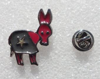 Political Memorabilia! Signed Ultra Craft! 1980s Democratic Memorabilia! Democratic Donkey! Flawless Vintage Pin! Free S&H! Sale + 20% Off!