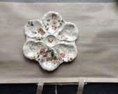 Antique  French Oyster Plate Botanical Theme Transferware