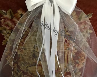 First Communion/Flower Girl  Veil attached to a  White Satin  Bow with Rose Center with Ribbon  Streamers, Boutique Bow