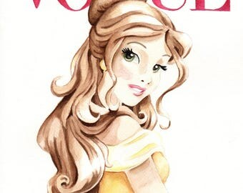 Belle. Vogue. Magazine Cover. Original Watercolor. 9x12.