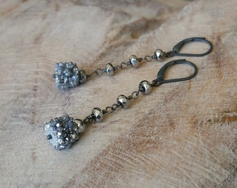 Silver Druzy Hematite Earrings