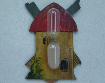 Windmill Egg Timer. Glass Hourglass, Hand Painted Wood. Vintage 1940s 1950s. Cottage Farmhouse Country Kitchen Wall Decor.